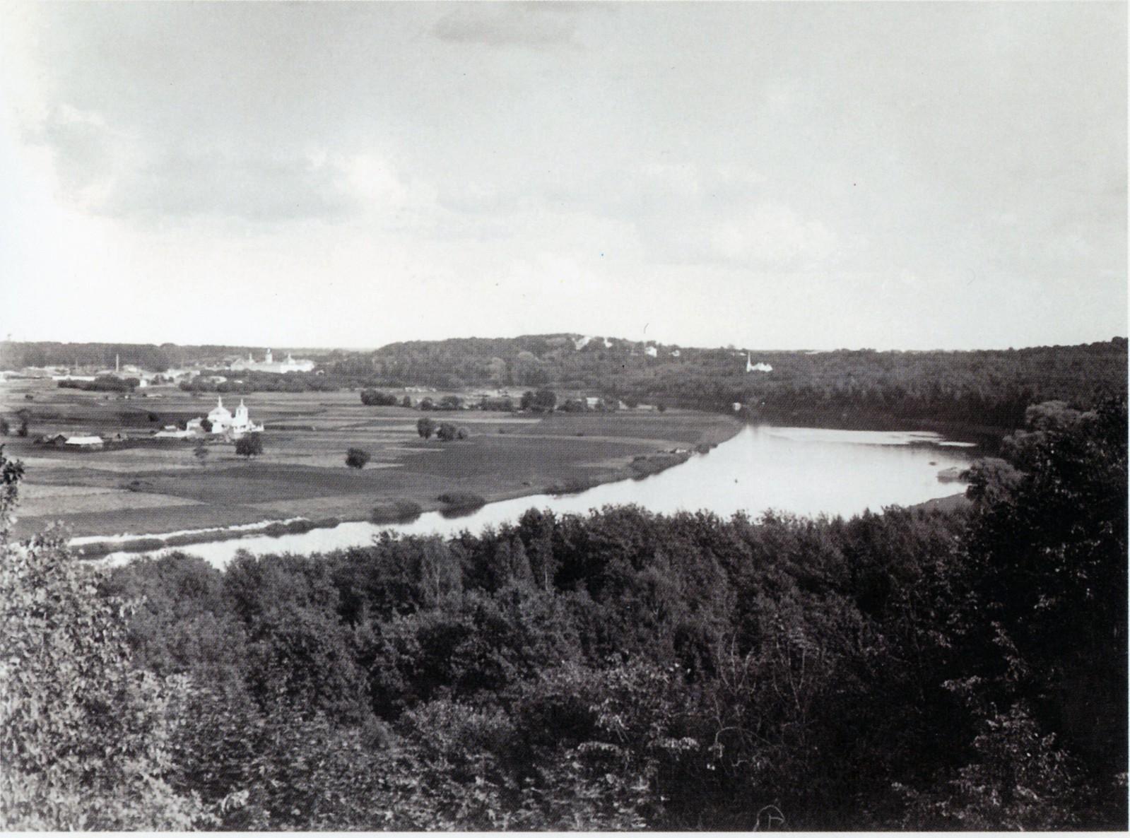 Вид на Лужники с Воробьёвых Гор, 1909 год.