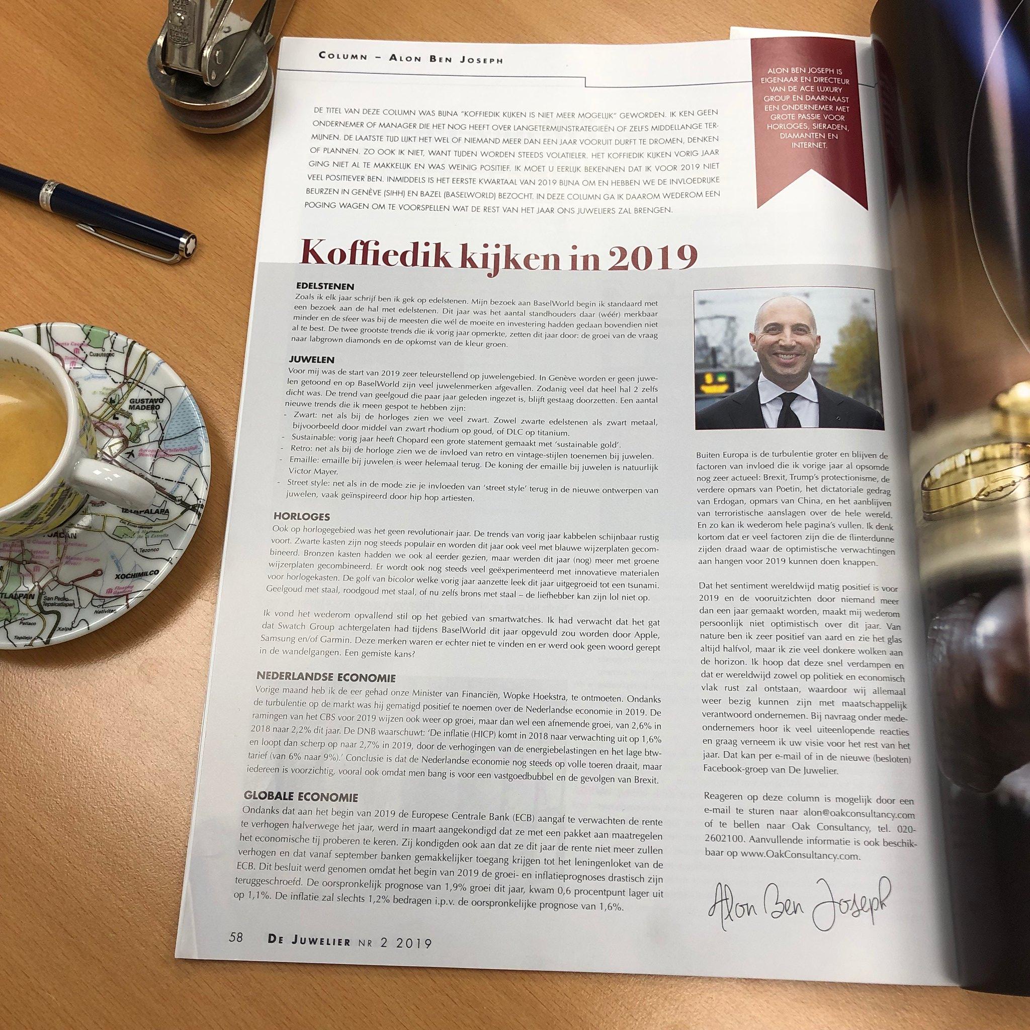 "Column De Juwelier Magazine – ""Koffiedik kijken 2019"" [PDF – Dutch]."