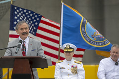 U.S. Ambassador to South Korea Harry B. Harris, Jr., delivers remarks during the USNS Guam (T-HST 1) christening ceremony. (U.S. Navy/Grady T. Fontana)