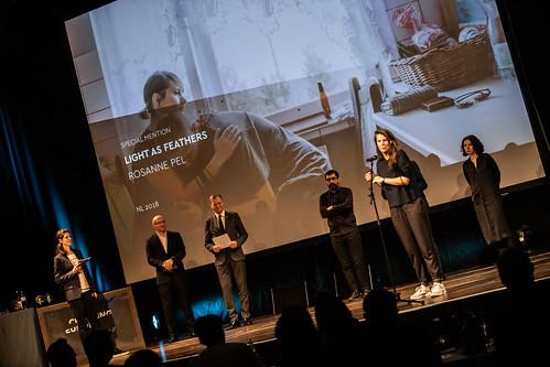 CE19 - awards ceremony // Moderator Karin Schmid, Almir Balihodzic (Councilman), Thomas Stelzer (Governor of Upper Austria), Jury Best Fiction Film, Rosanne Pel (Special Mention - Best Fiction Film) // photo © Andreas Wörister / subtext.at
