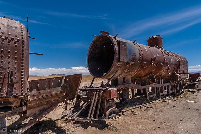 Rusting in the desert - railway graveyard of Uyuni, Bolivia