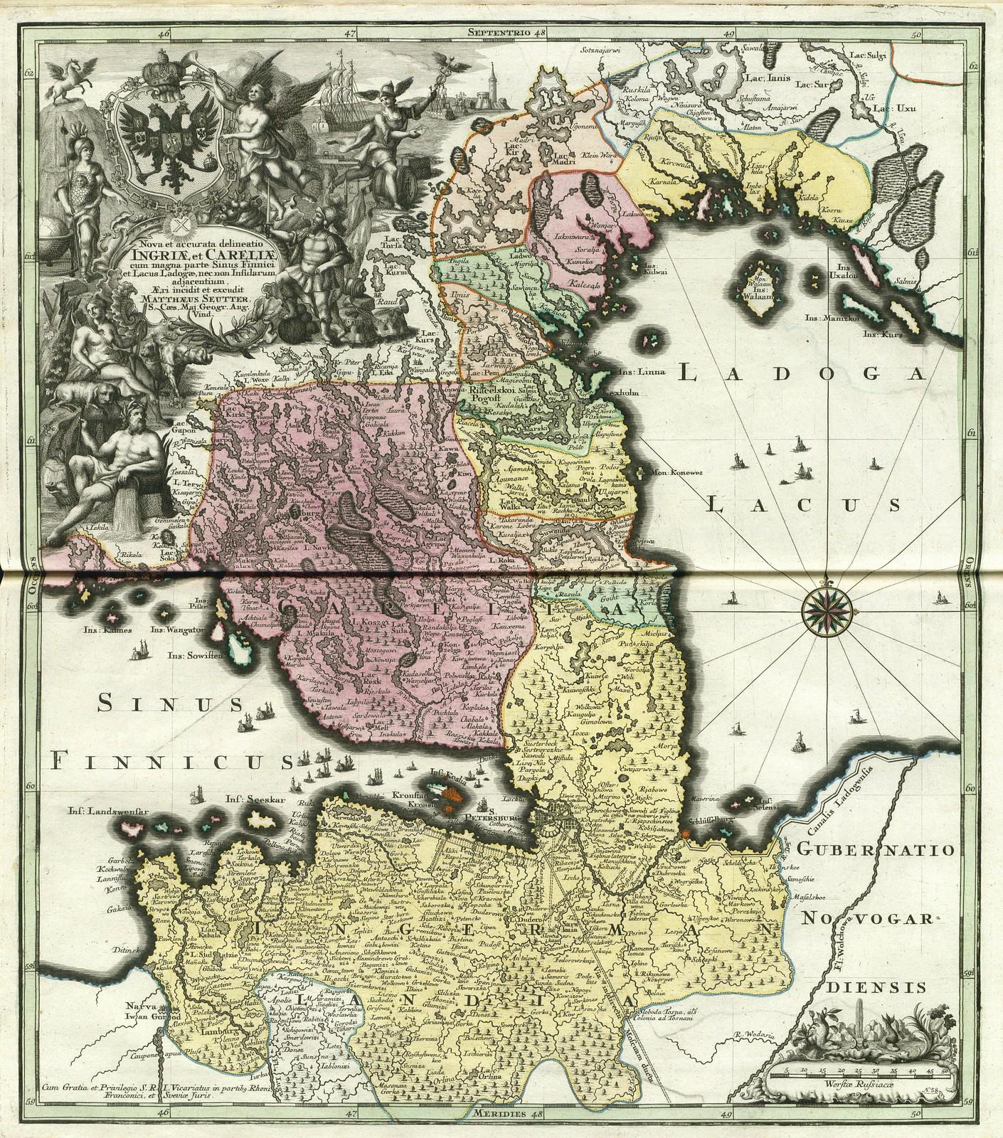 1744. Новое тщательное разграничение Ингрии и Карелии, Мэтью Lotter, Аугсбург