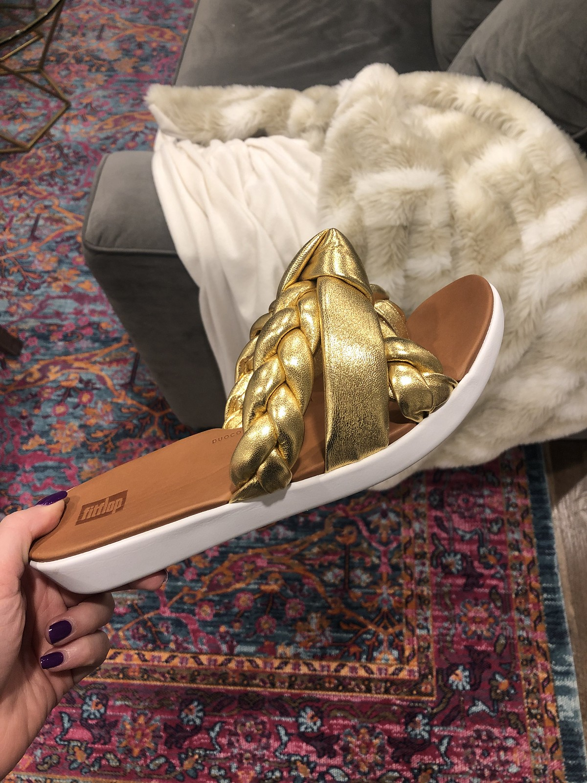 Fitflop Gold Leather Sandals