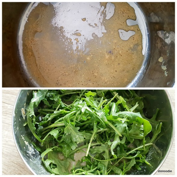 tossing salad dressing with arugula