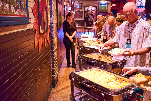 Food line in Piano Heaven at Piano Night - April 29, 2019. Photo by Eli Mergel.