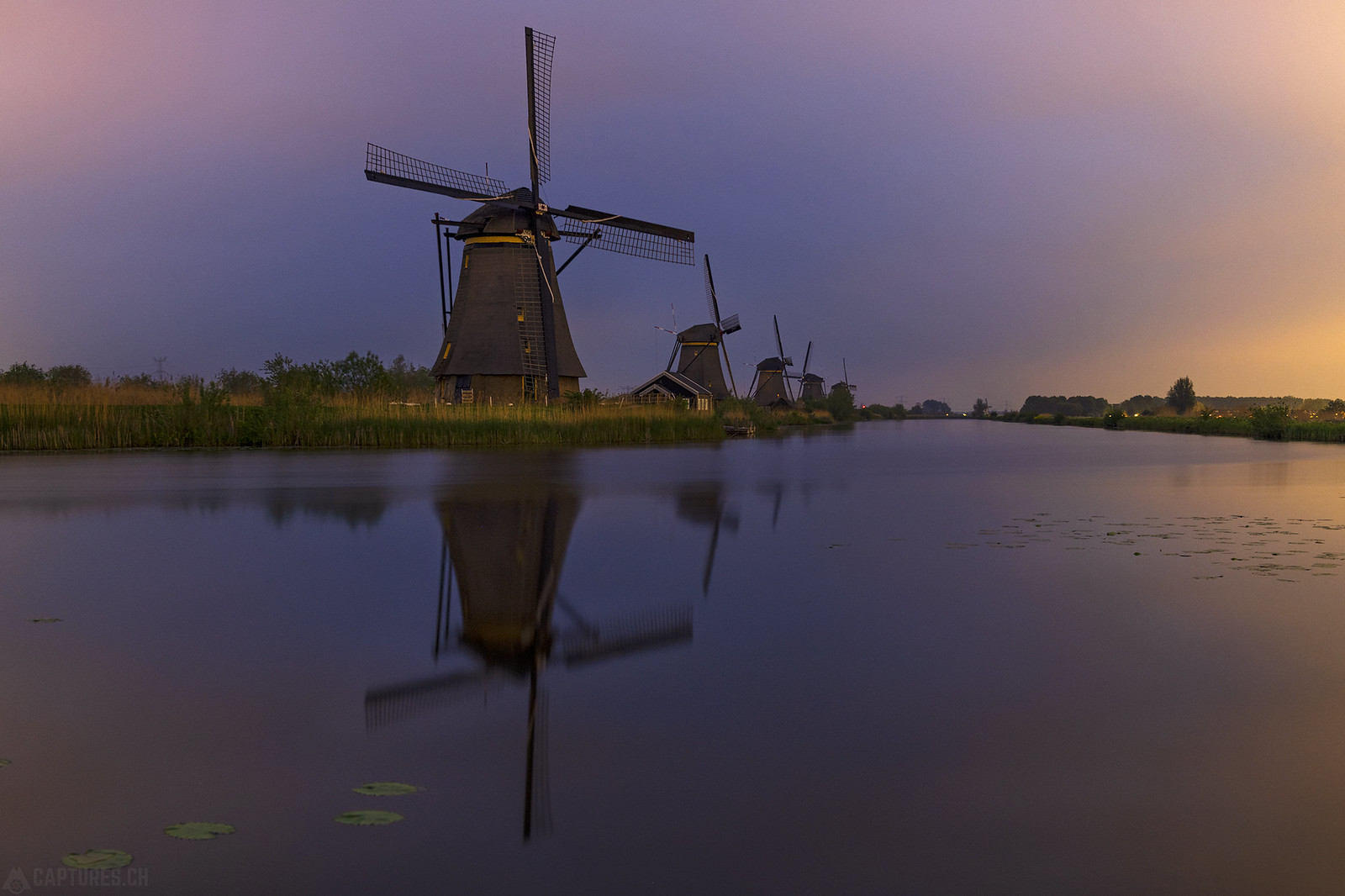 Windmills at night - Kinderdijk