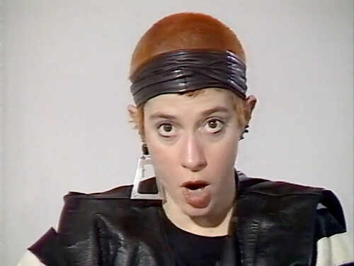 Video still: Kathy Acker in conversation with Angela McRobbie at the Institute of Contemporary Arts, 1987
