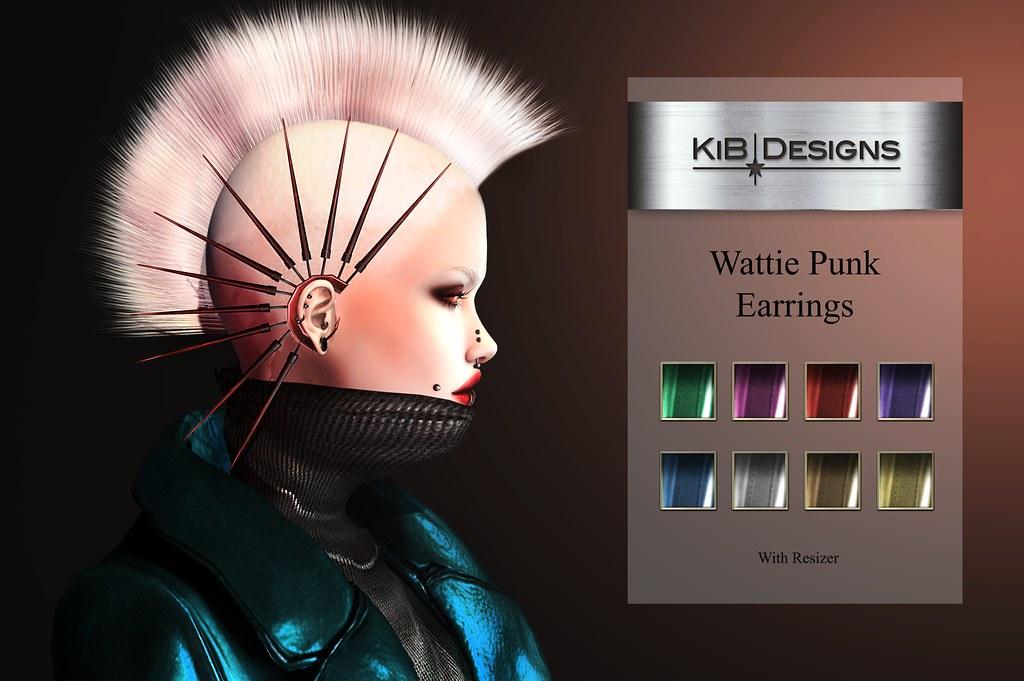 KiB Designs – Wattie Punk Earrings @Darkness Event