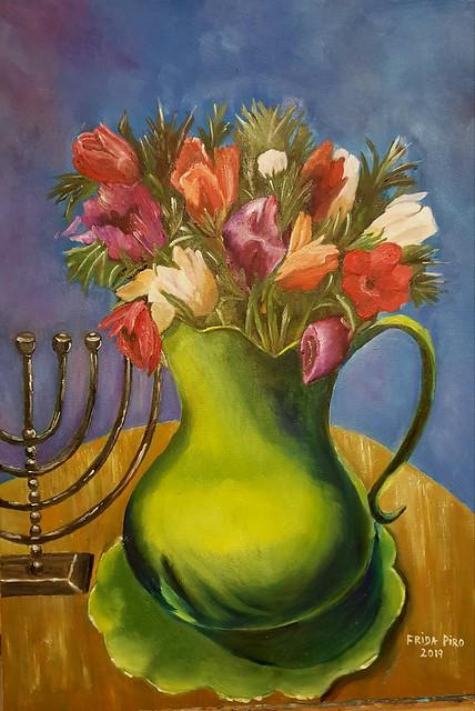 כד ירוק כלניות חנוכיה פרידה פירו ציירת ישראלית אמנית אמניות ציירות ישראליות