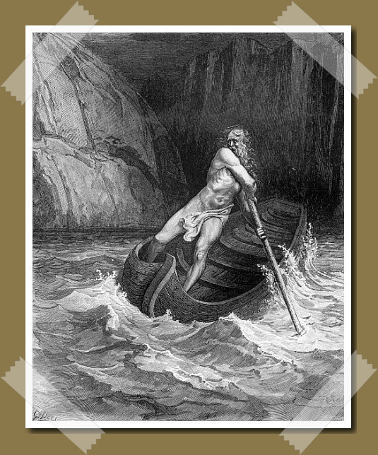 Charon, the ferryman of Hell. Painting from 1861 By Gustave Doré