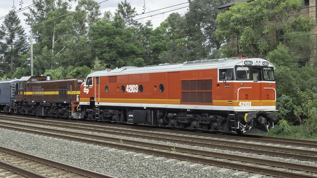 """Craig Prior's Locomotive 42103 named """"Chumster"""", with loco 4702, as Lachlan Valley Railway tour / transfer run 8L83 from Sydney Central Station to Parkes for the Trundle ABBA Festival over the weekend."""