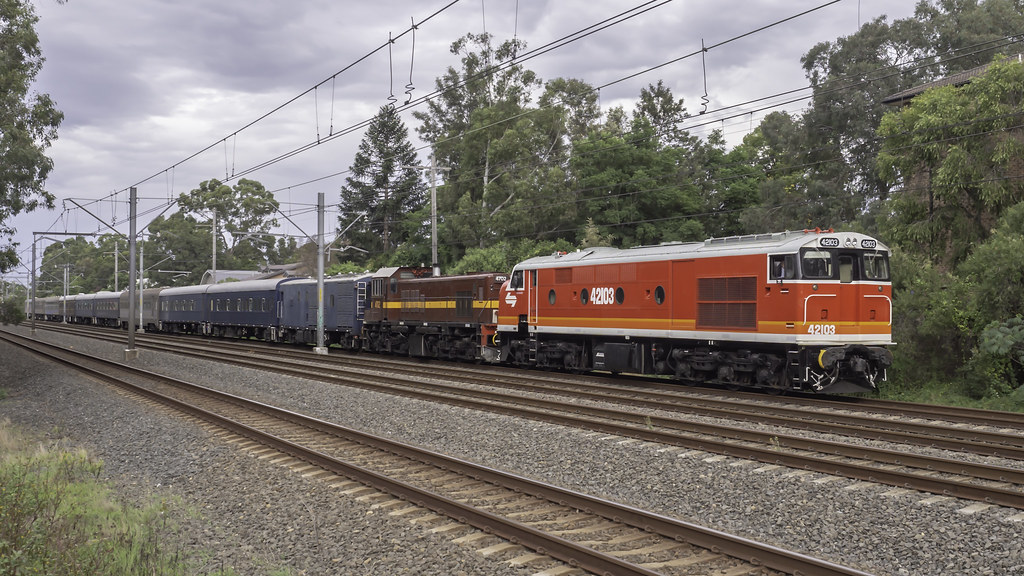 """Craig Prior's Locomotive 42103 named """"Chumster"""", with loco 4702, as Lachlan Valley Railway's run 8L83 from Sydney Central Station to Parkes for the 2019 Trundle ABBA Festival"""