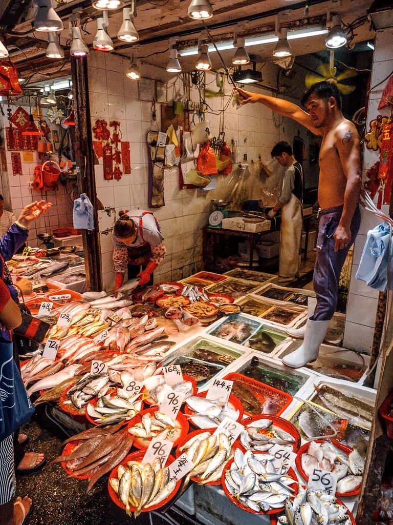 Poisson frais sur le marché de Canton Street - Mong Kok - Hong Kong