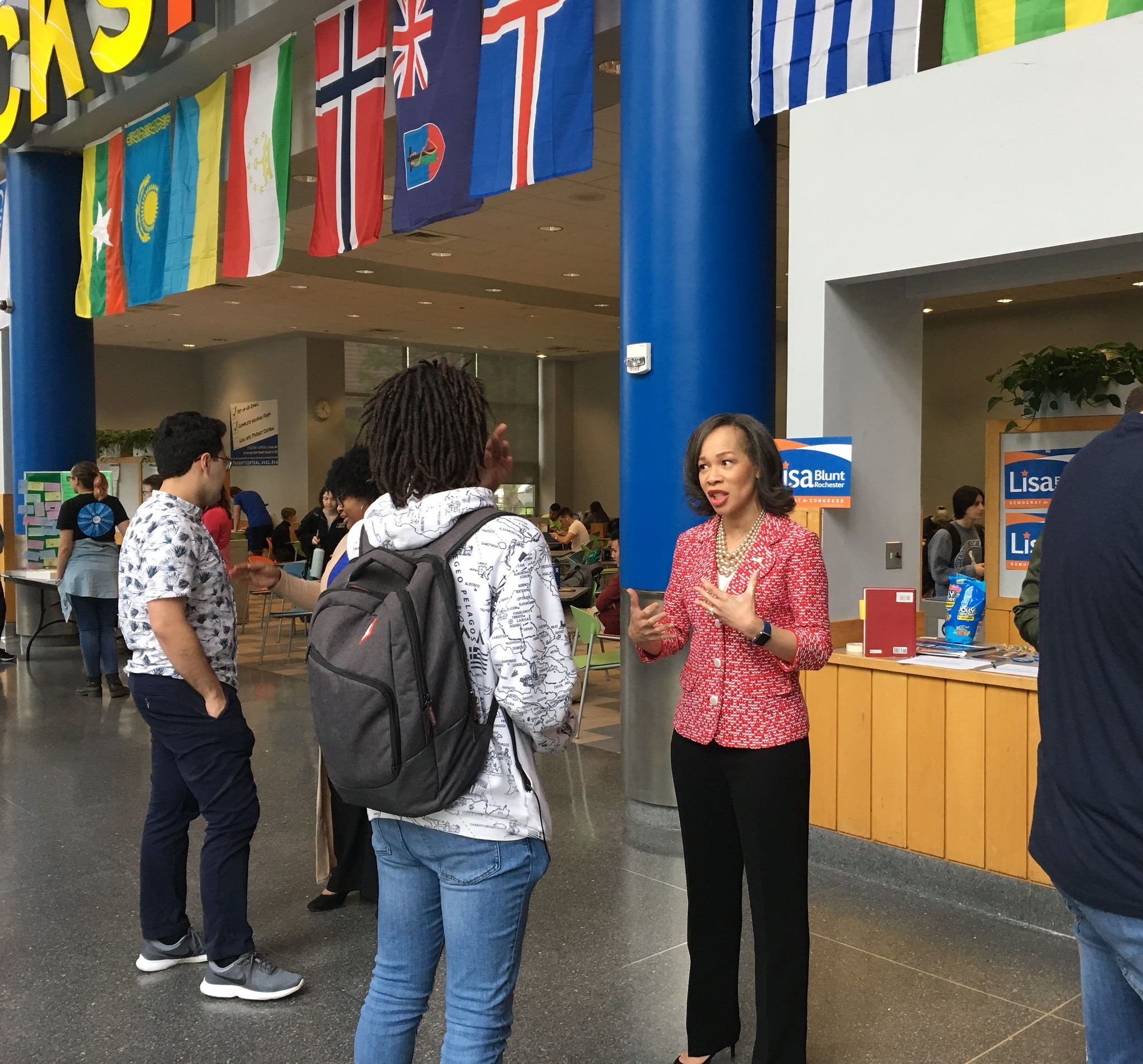Lisa Blunt Rochester talks to students in Trabant, discusses Biden endorsement