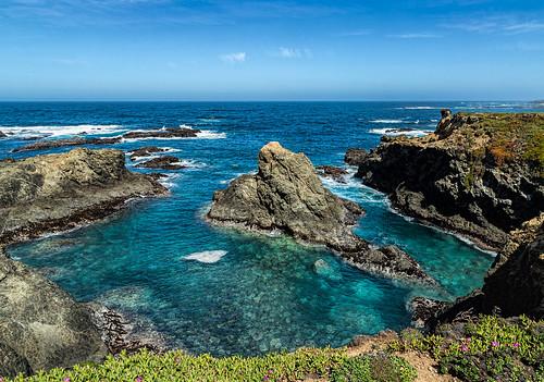 sunshine california mendocino ocean nature water blue seascape pointcabrillo landscape scenery shore rocks