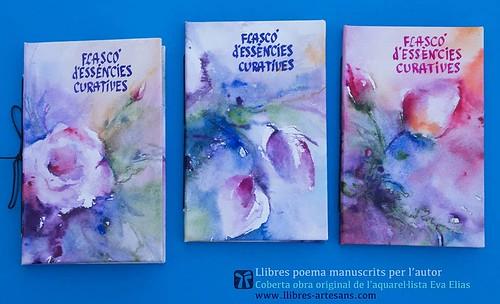 Sèrie Flascó d'essències curatives, llibre poema de Ferran Cerdans Serra, cobertes art original Eva Elias