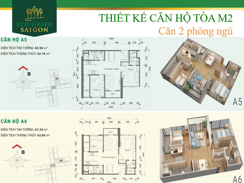 Mặt bằng căn hộ A3-A4 tòa tháp M2 dự án Eco-Green Sài Gòn quận 7 loại 2 phòng ngủ.