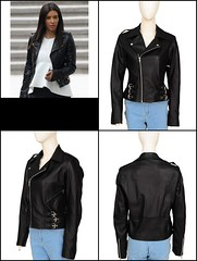 Kim Kardashian Moto Biker Black Leather Jacket for Women's
