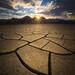 Desert Mud Tiles Sunrise