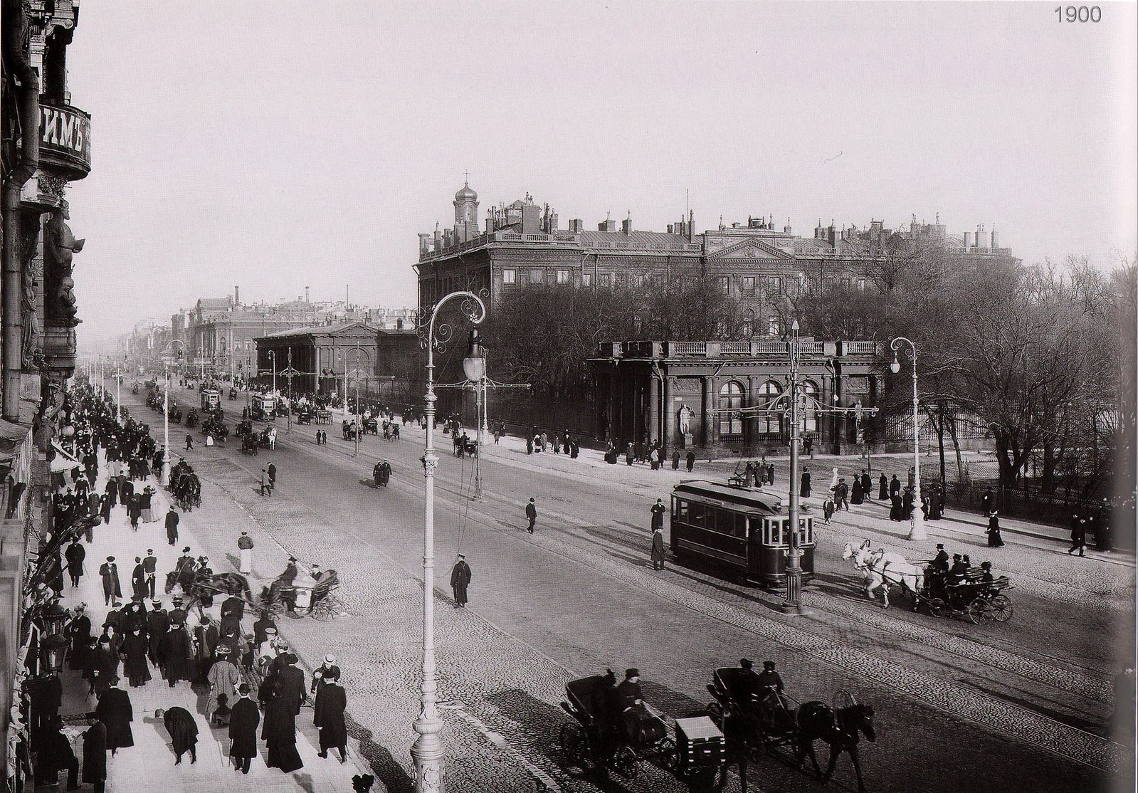 Невский проспект. Вид на Аничков дворец, Екатерининский сад
