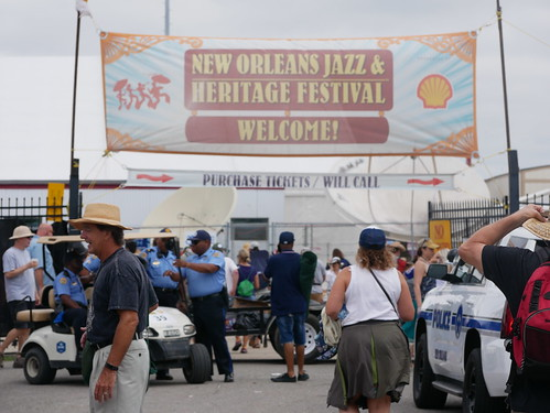 Jazz Fest welcome sign  on Day 8 of Jazz Fest - 5.5.19. Photo by Louis Crispino.