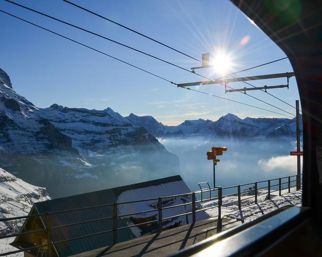 Llegando a la estación de montaña del Jungfraujoch