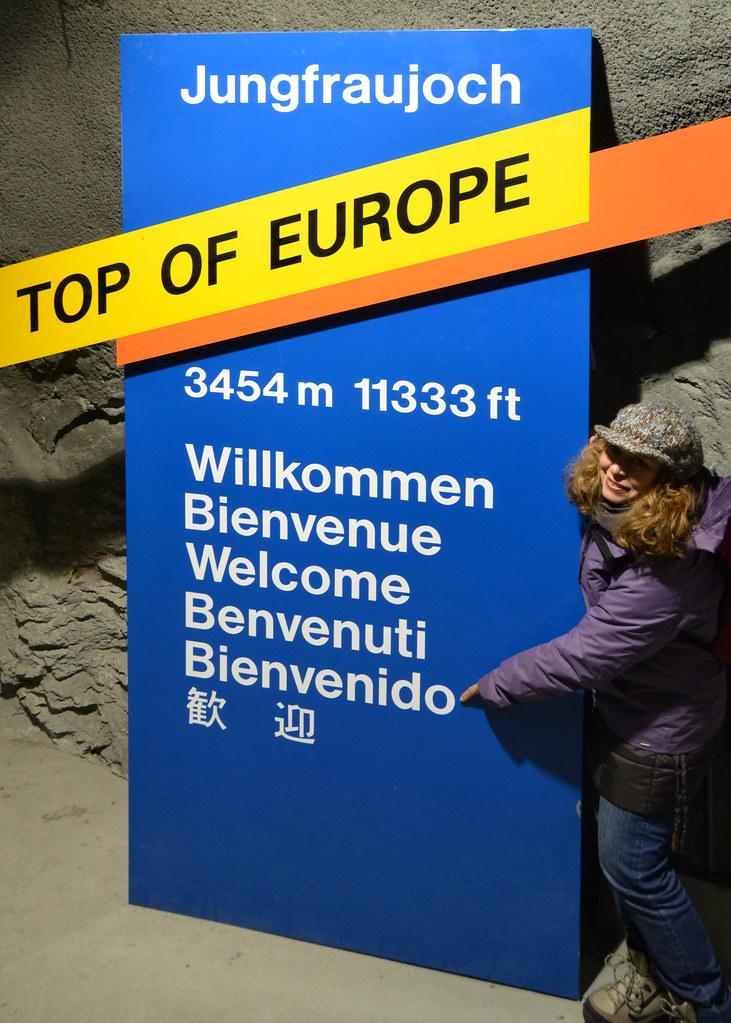 Cartel de bienvenido al Top of Europe