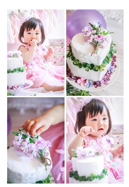 1歳の誕生日 女の子 バースデーデコレーションケーキ ママの手作り