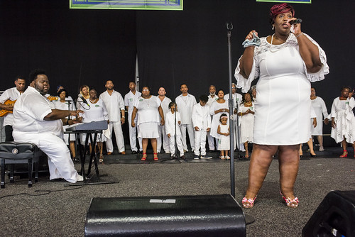 Raymond Myles Tribute featuring the RAMS in the Gospel Tent during Jazz Fest 2019 day 8 on May 5, 2019. Photo by Ryan Hodgson-Rigsbee RHRphoto.com