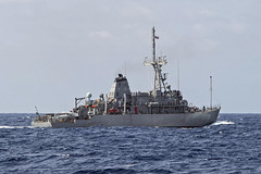 SOUTH CHINA SEA (May 5, 2019) The mine countermeasures ship USS Patriot (MCM 7) operates in the South China Sea. Patriot, part of Mine Countermeasures Squadron 7, is operating in the U.S. 7th Fleet area of operations to enhance interoperability with partners and serve as a ready-response platform for contingency operations. (U.S. Navy photo by Mass Communication Specialist 2nd Class Corbin J. Shea)