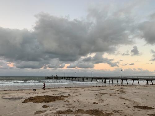 adelaide australia glenelg sa southaustralia beach clouds coast jetty sky sunrise surf waves