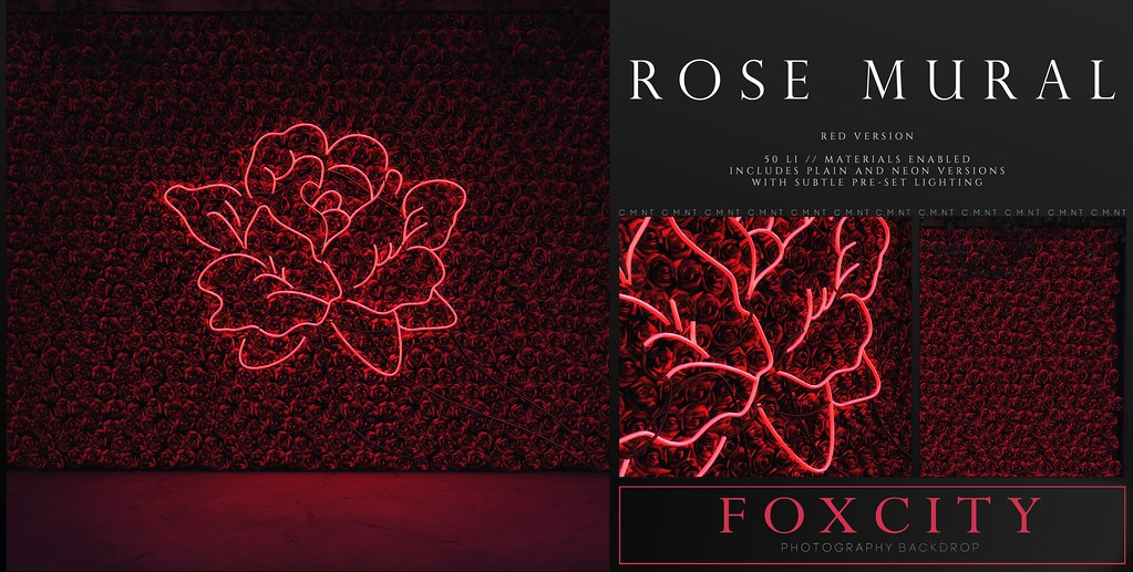 FOXCITY. Photo Booth – Rose Mural (Red)
