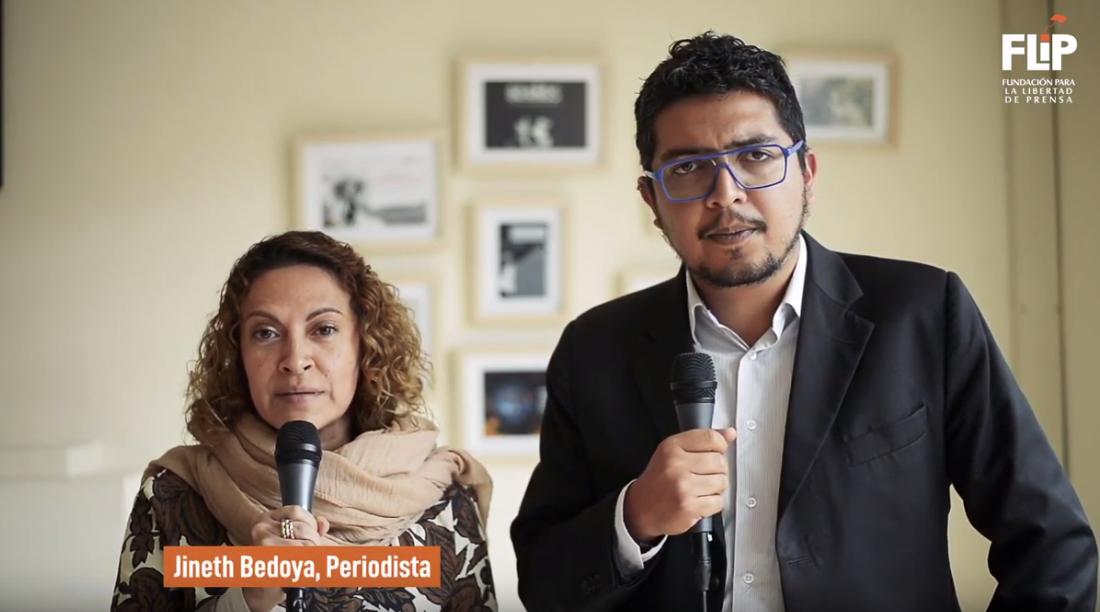 Jineth Bedoya Limay Pedro Vaca hablan sobre la sentencia de dos hombres en el caso de su secuestro, tortura y violencia sexual. (Captura de pantalla/FLIP).