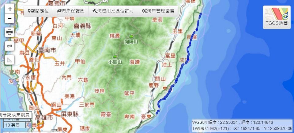 藍色長線區域即為這次劃定範圍。截圖自海岸地區管理資訊網