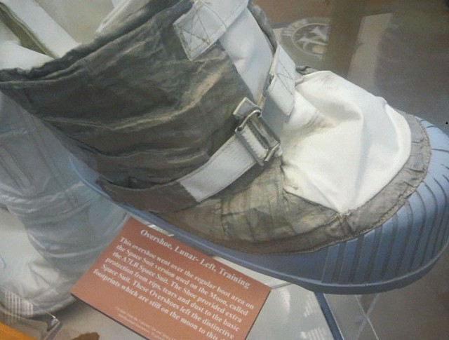 The overshoes apparently used on the Moon which they just so happened to leave behind on the Moon.