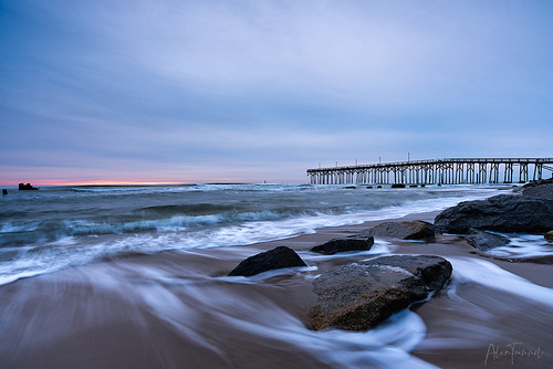 alan trammel north carolina nc seascape ocean coastal beach surf fishing pier sunrise outdoors nature landscape nikon d750 motion blur movement water