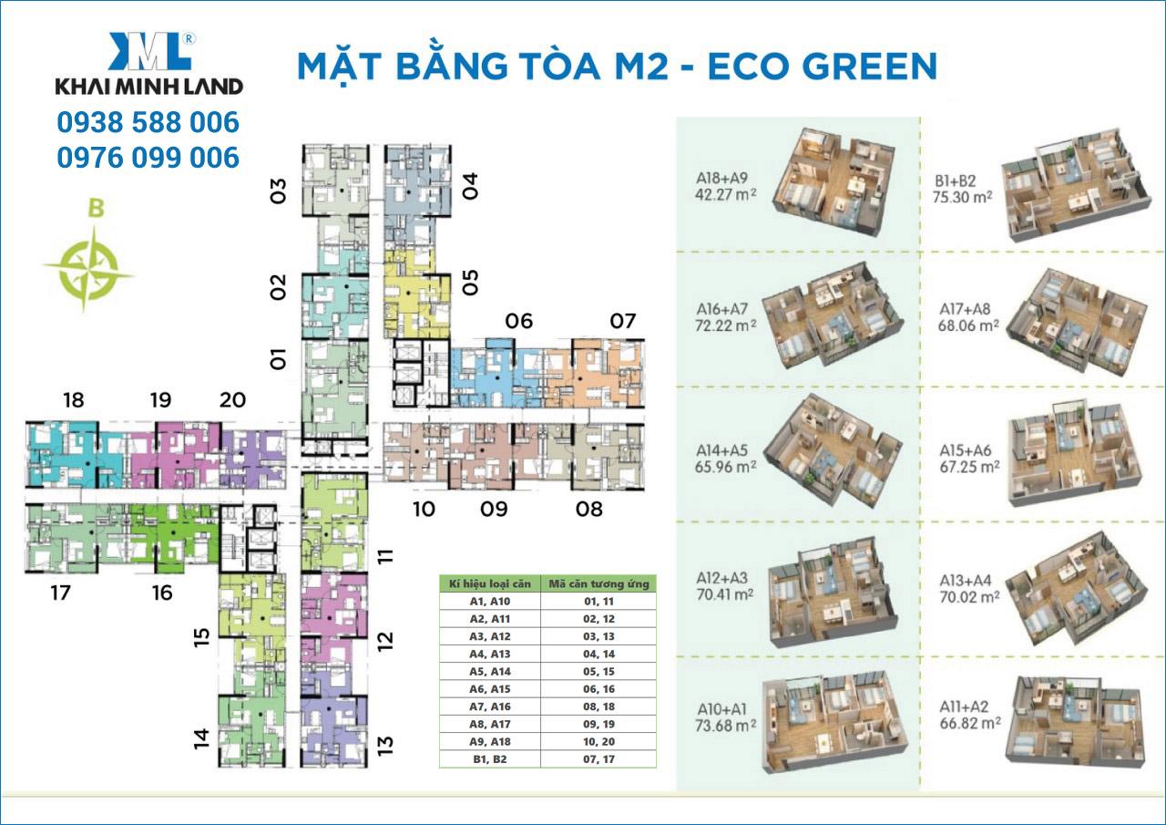 Mặt bằng chi tiết căn hộ tháp M2 dự án Eco-Green Sài Gòn quận 7.