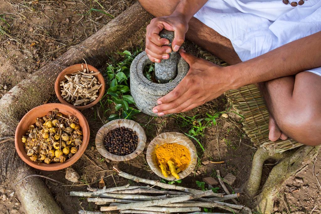 年輕男子正在準備阿育吠陀(Ayurveda)醫療材料。 來源:Nila Newsom/Shutterstock.com 圖片由IPBES提供。   Nila Newsom/Shutterstock.com 圖片由IPBES提供。