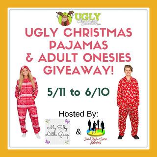 Ugly Christmas Pajamas & Adult Onesies giveaway @uglyXsweater @SMGurusNetwork #MySillyLittleGang