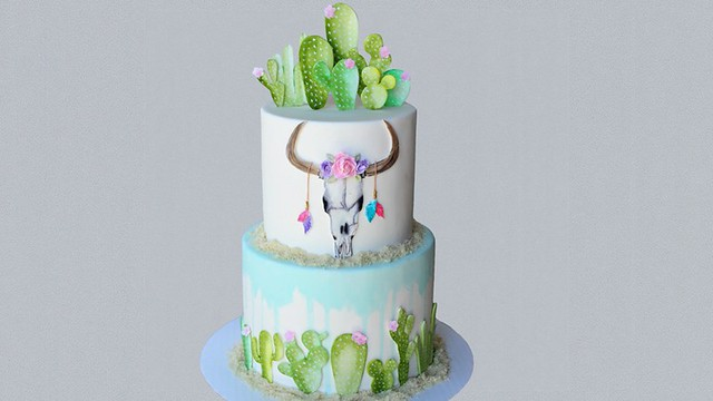 Water Color Cactus Theme Cake by The Lovely Baker
