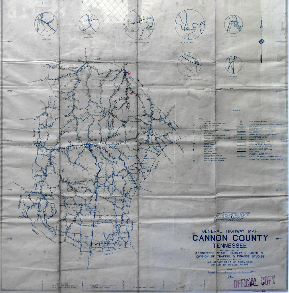 General Highway map, Cannon County, Tennessee
