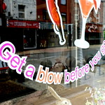 'Get a blow before you go' on a Preston hairdresser