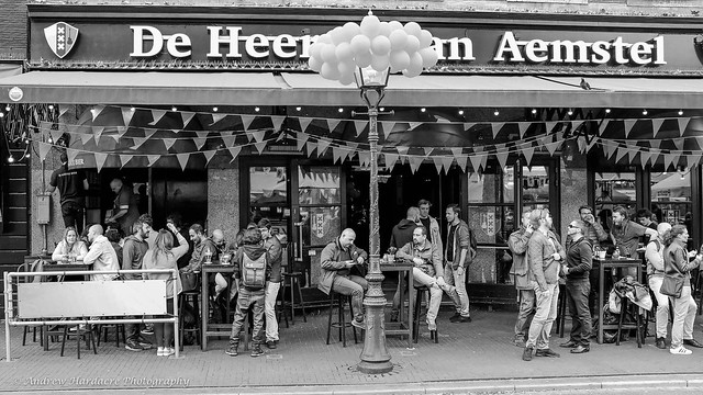 Outside bar scene on the evening of King's Day 2019, Amsterdam