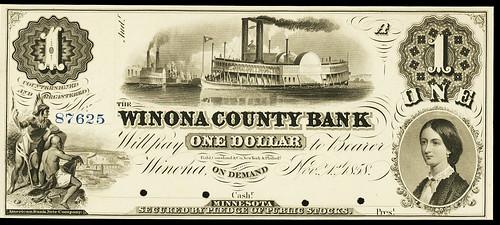 Winona (MN) County Bank $1 (1858)
