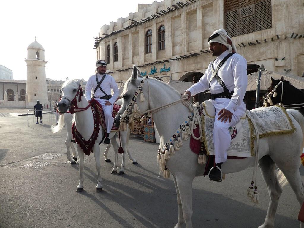 Arabian horses in the Souq Waqif, Doha