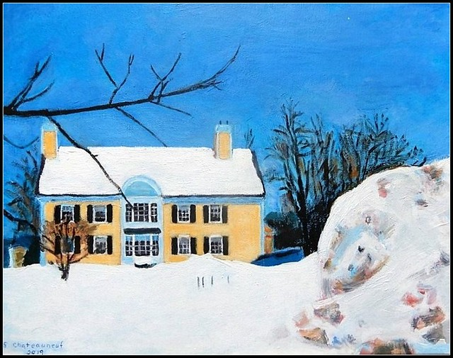 Winter Snow Storm With Snow Bank At L'Hussier Insurance Auto Home - Acrylic Painting by STEVEN CHATEAUNEUF  Painted In 2019 From My Photo Taken On February 7, 2015