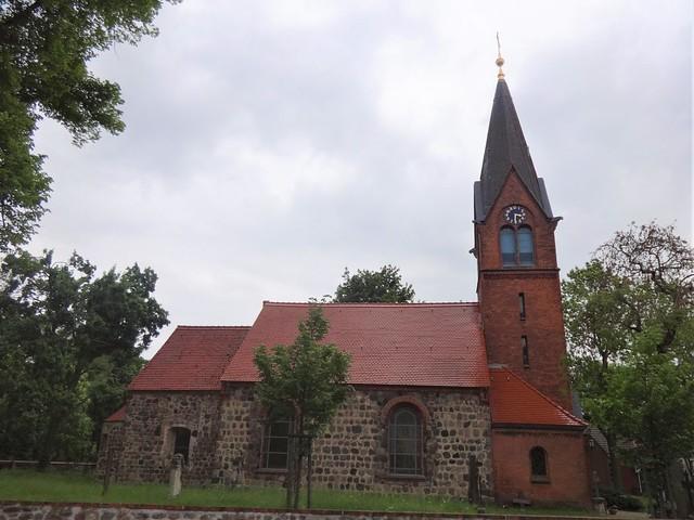 1877 Großziethen Westturm aus Backstein an spätromanischer Dorfkirche Alt Großziethen 29 in 12529