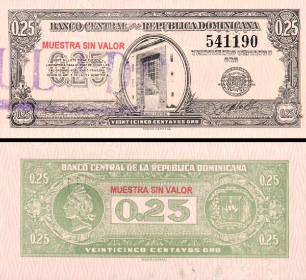 25 Centavos Oro Dominikánska republika 1961 P88s