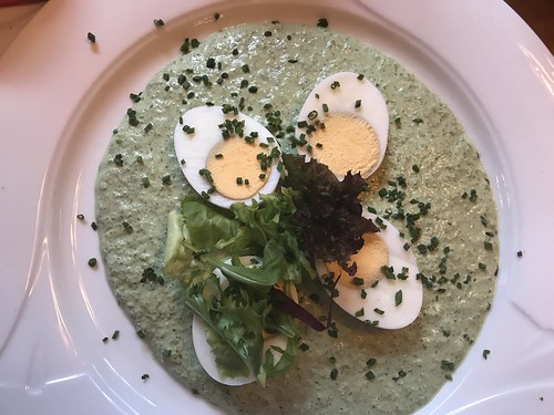 Eggs and potatoes (separate plate) with traditional green sauce at Daheim im Lorsbacher Thal. From History Comes Alive in Frankfurt am Main