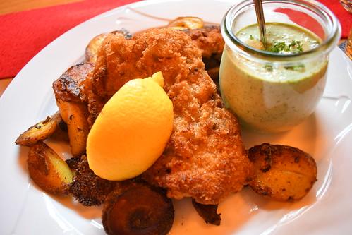 Chicken schnitzel with green sauce at Daheim im Lorsbacher Thal. From History Comes Alive in Frankfurt am Main